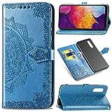 Funda para Samsung Galaxy A50, Galaxy A30s Carcasa Libro con Tapa Flip Case Antigolpes Golpes Cartera PU Cuero Suave Soporte con Correa Cordel - Mandala Azul