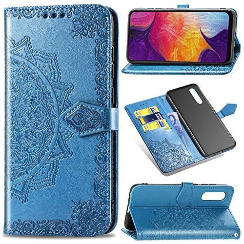 Funda para Samsung Galaxy A50 / Galaxy A30s + Protector de Pantalla Cristal Templado, Carcasa Libro con Tapa Flip Case Antigolpes PU Cuero Suave Soporte con Correa Cordel Mandala Azul