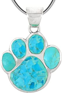 Dog Paw Pendant Necklace in 925 Sterling Silver with Genuine Turquoise & Gemstones