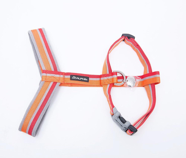 HAMATE Alpha Durable Reflective Webbing Dog Collars,Nylon Dog Leash Halter Harnesses,Adjustable H Harness Large Dogs (S, Red Harness)