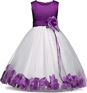 purple and turquoise flower girl dresses