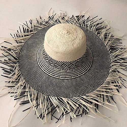 Sombreros De Paja Gorra De Mujer Sombrero para El Sol De Paja para Mujer, Gorras para El Sol De Paja De Playa De Panamá De ala Ancha Grande - 6_One_Size