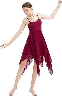 FYMNSI Frauen Damen Lyrisches Tanzkleid Modern Contemporary Tanzkleidung Irregulär Trägerkleid Chiffon Rock Ballett Lyrisch Tanz Kleid Bühnenanzug Kostüm