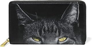Angry Black Cat Kitty Monedero Cremallera Billetera de Cuero Real Patrón Impresión Bolso para Niño Mujeres Teléfono Chica Hombre
