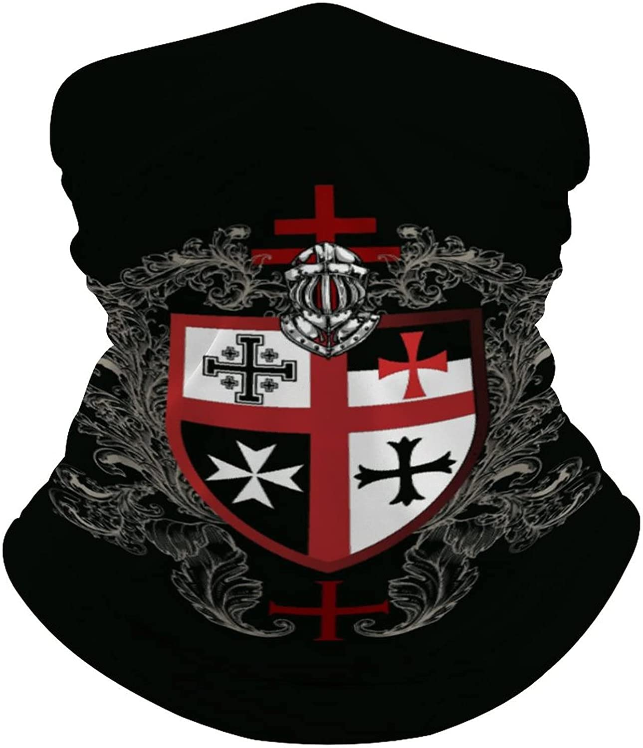 Multifunction Neck Gaiter face Mask for Cooling Summer,Knights Templar Cross Unisex Breathable Bandana Seamless Balaclavas for Dust Outdoor Fishing and Sports Face Cover Scarf