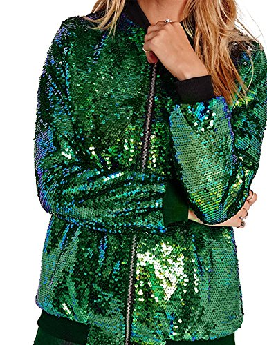 ASMAX HaoDuoYi Womens Sparkle Mermaid Sequin Long Sleeve Zipper Front Bomber Jacket Green