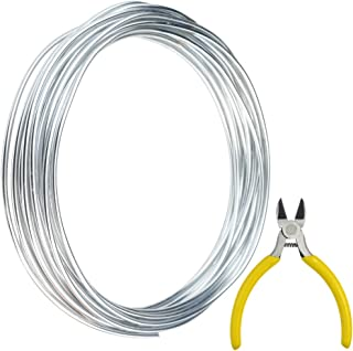 obmwang 32.8 Feet Silver Aluminum Wire with 1 Side Nose Plier, Bendable Metal Craft Wire Armature Wire for Doll Skeletons, DIY Crafts, Halloween Decorations (3 mm Thickness)