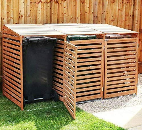 Triple Wheelie Bin Storage Hideaway Wooden Store Cover Garden Rubbish Dustbin Conceals Three (3) 240L Compartments - 2021 Model