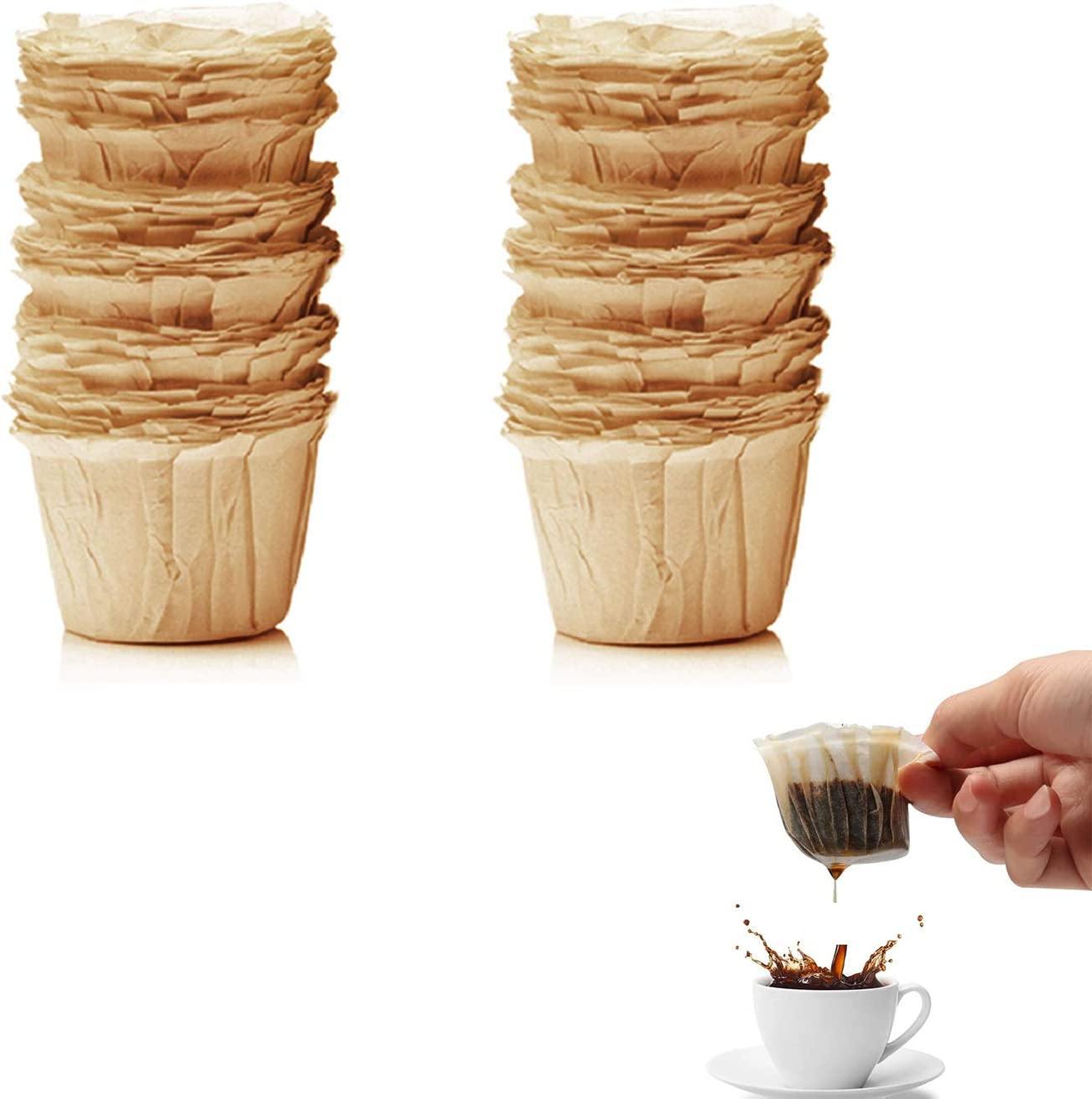 Flunyina 100 PCS Disposable Paper Coffee Filters K-Cup Paper ...