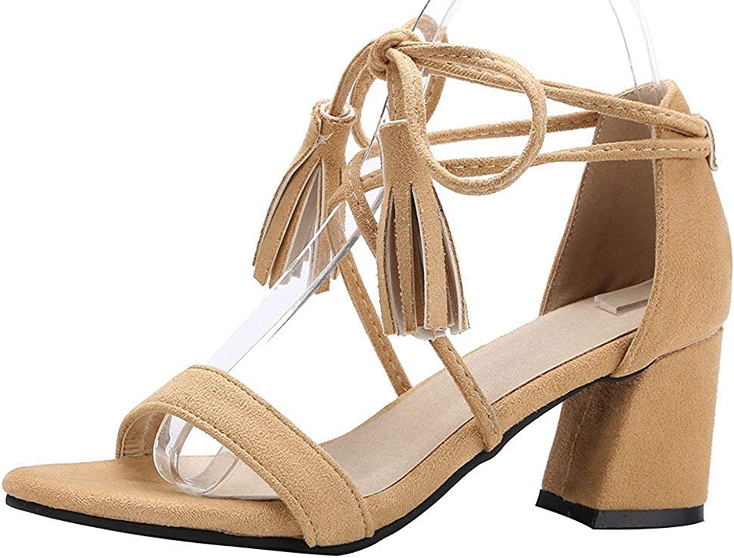 Wallhewb Women's Fashion Fringes Self Tie Sandals - Open Toe Faux Suede Solid color - Lace Up Block Medium Heel shoes Dexterous Rubber Sole No Grinding Feet Breathable Dress Pink 5.5 M US Sandals