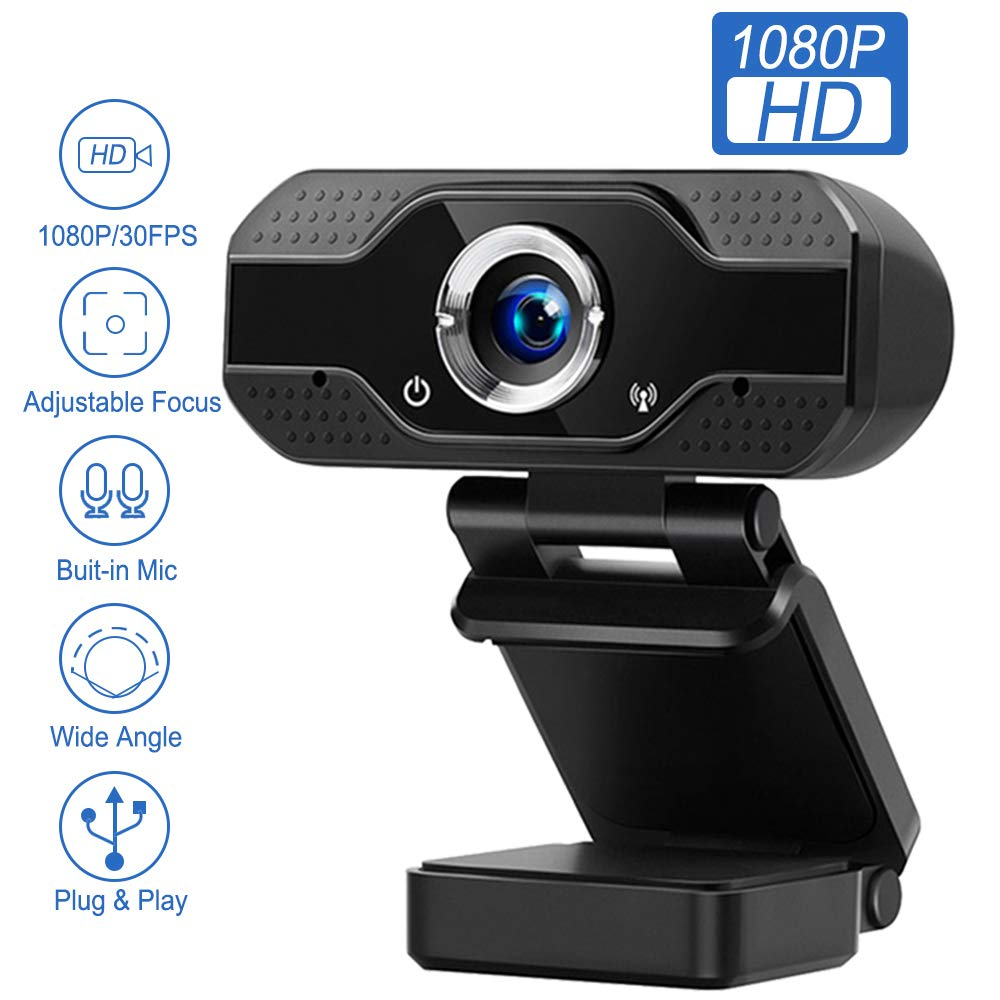 Webcam with Microphone, 1080P Webcam, USB Camera, Streaming Computer Webcam with 120-Degree Wide View Angle, Auto Light Correction, Plug and Play, for Video, Conference, Gaming, Online Classes