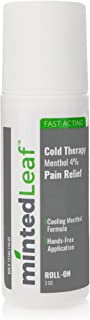 mintedLeaf - Cold Therapy Menthol 4% Pain Relief Roll-On- Relief for Minor Aches and Pains, Muscle and Joints Soreness Associated with Arthritis, Simple Back Aches, Sprains, and Bruises