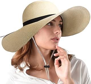 Women Wide Brim Sun Hat Summer Beach Cap UPF50 UV Packable Straw Hat for Travel
