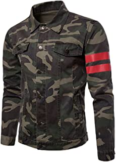 Mens Casual Regular Fit Camo Style Chest Pocket Long Sleeve Button Down Denim Jacket