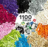 1100 Piece Building Bricks Kit with Wheels, Tires, Axles, Windows and Doors Pieces - Pastel Colors - Compatible with All Major Brands