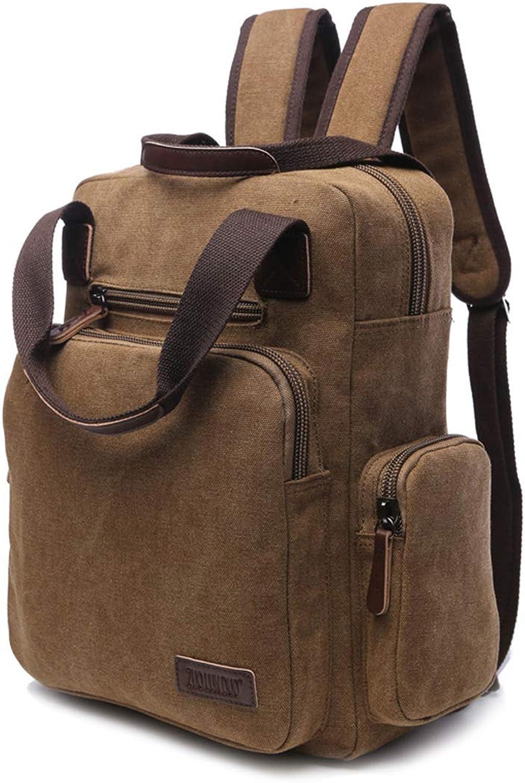 MAGAI Mnner Frauen Rucksack Daypack Wasserdichte Vintage Reiverschluss Leinwand Reise Laptop Taschen Outdoor (Farbe   Khaki)