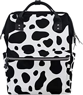MERRYSUGAR Diaper Bag Backpack Travel Bag Large Multifunction Waterproof Animal Cow Skin Print Black White Stylish and Durable Nappy Bag for Baby Care School Backpack