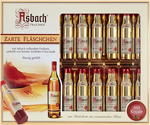 RCP Asbach Fläschchen, Zartbitter-Schokolade, Mit Kruste, Flüssige Füllung, Alkoholhaltig, Tolles Geschenk, 250 g
