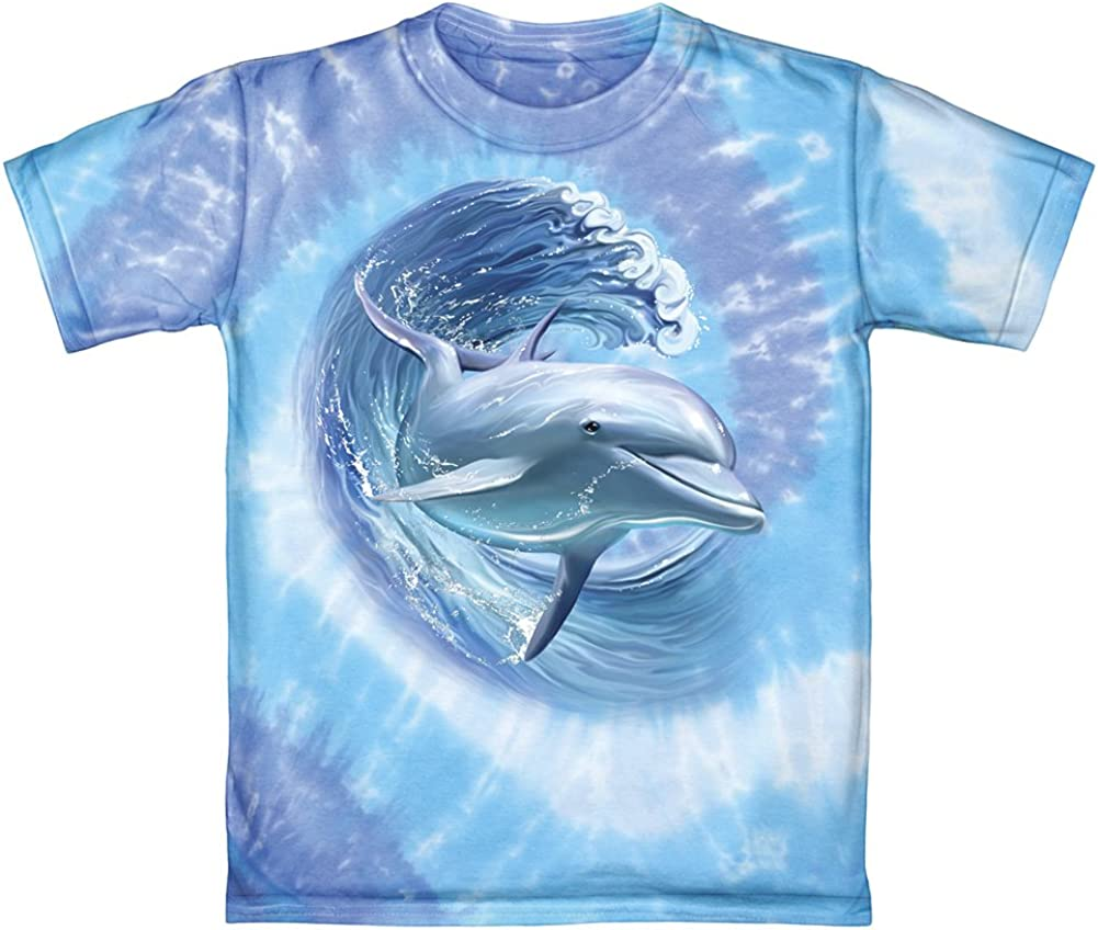 4. Dolphins Surfing - Youth Tie Dye T-Shirt