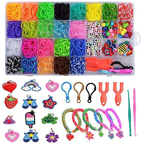 Loom Bands Set de iniciación, Shonco, bandas de goma, kit con pequeño adorno de clip, gancho de perla, pulsera de la amistad, fabricación de pulseras, juguetes para niños, niñas, regalo