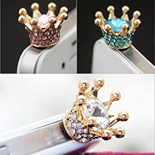 3pcs Dust Caps for Phone, Rhinestone Crown Earphone Jack Accessories Dust Plug Lovely Decor for Iphone 6s 6 Ipad Samsung Galaxy s7 s6 note5 Other Cellphone 3.5mm Ear Jack