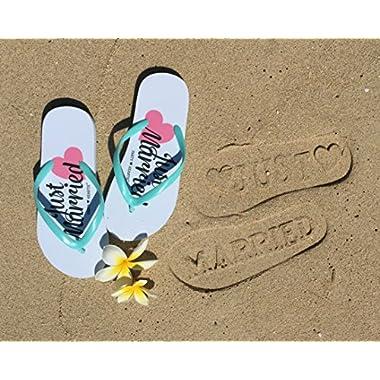 Just Married Flip Flops (Size 9/10) Stamp / Imprint on Beach Sand Wedding Honeymoon Slippers