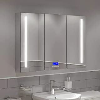 "MAVISEVER 42""W x 28""H LED Lighted Bathroom Medicine Cabinet with Digital Clock, Bluetooth, Temperature Disp..."