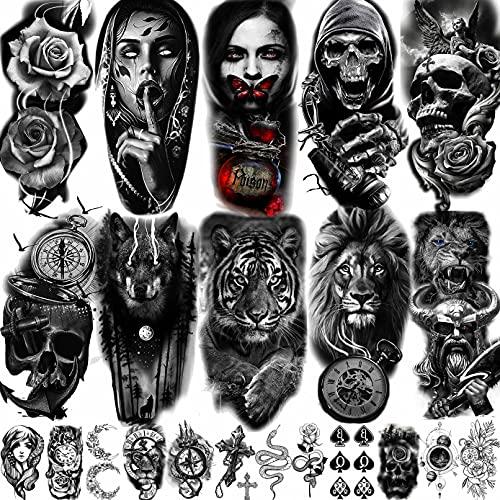 LAROI 22 Blätter Groß realistisch Tiger Lion Temporäre Tattoos Frauen Männer Piraten Anker Fake Tattoo Aufkleber Erwachsene Kinder 3D Halbarm Skelett Blumen kompass Tatoos Schwarzes Schlangen kreuz