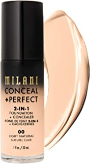 Milani Conceal + Perfect 2-in-1 Foundation + Concealer - Light Natural (1 Fl. Oz.) Cruelty-Free Liquid Foundation - Cover Under-Eye Circles, Blemishes & Skin Discoloration for a Flawless Complexion
