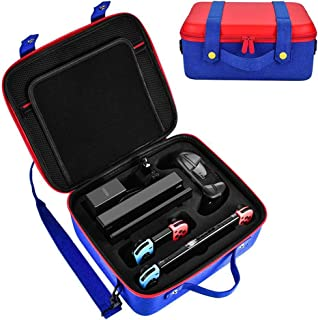 Vault Case for Switch Travel Mario Edition Slim Games Carrying Case Portable Carrier Travel Hard Shell Pouch for Joy Con, Console, Cable, Gamecards Storage for Games