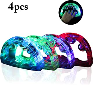 LED Tambourines,Coxeer 4PCS LED Light up Musical Flashing Tambourine Instrument Musical Instrument for Party Flashing Light Toys