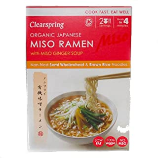 Clearspring Organic Japanese Miso Ramen Noodles with Miso Ginger Soup 170g (Pack of 3)