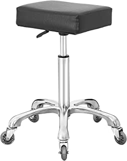 Rolling Swivel Stool Chair for Kitchen Office Medical Work,Adjustable Stool with Wheels (Black)