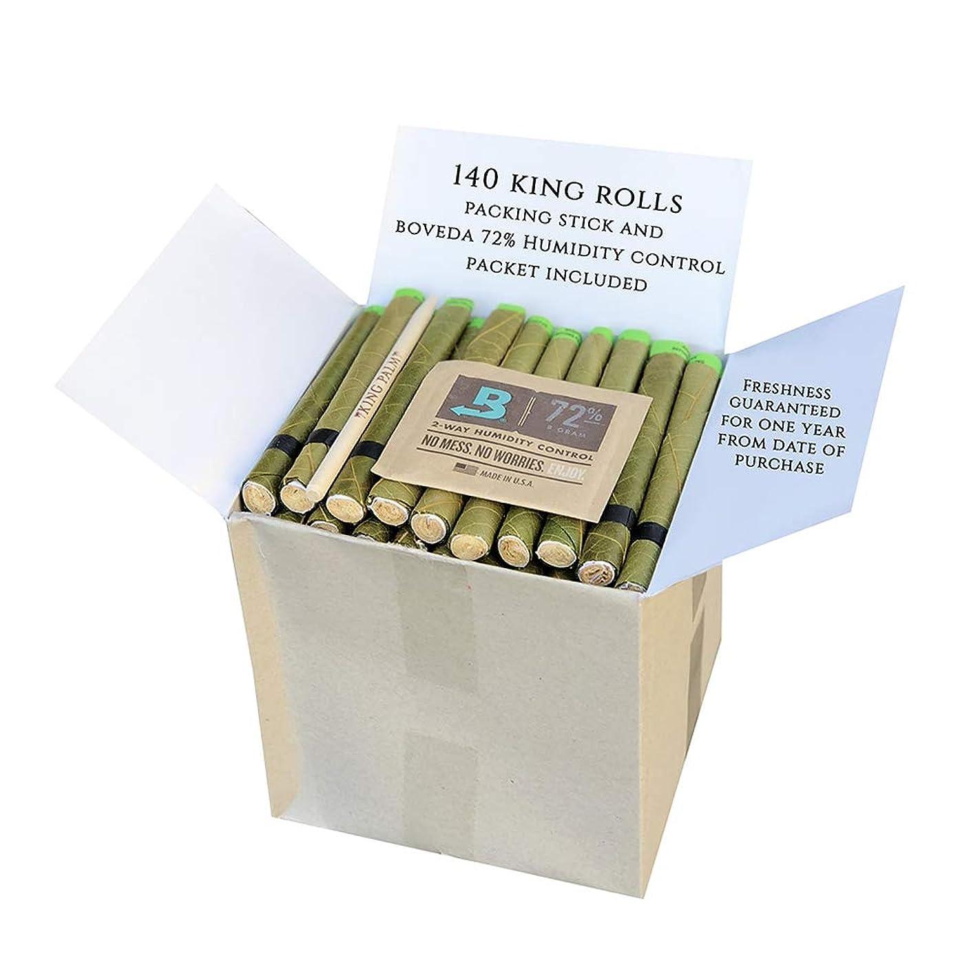 King Palm Hand Rolled Leaf Wrap Rolls + Boveda - King Size - 140 Count Bulk Pack
