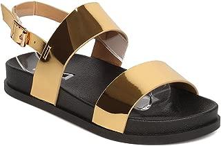 Cape Robbin Women Metallic Leatherette Open Toe Double Strap Slingback Footbed Sandal GD13