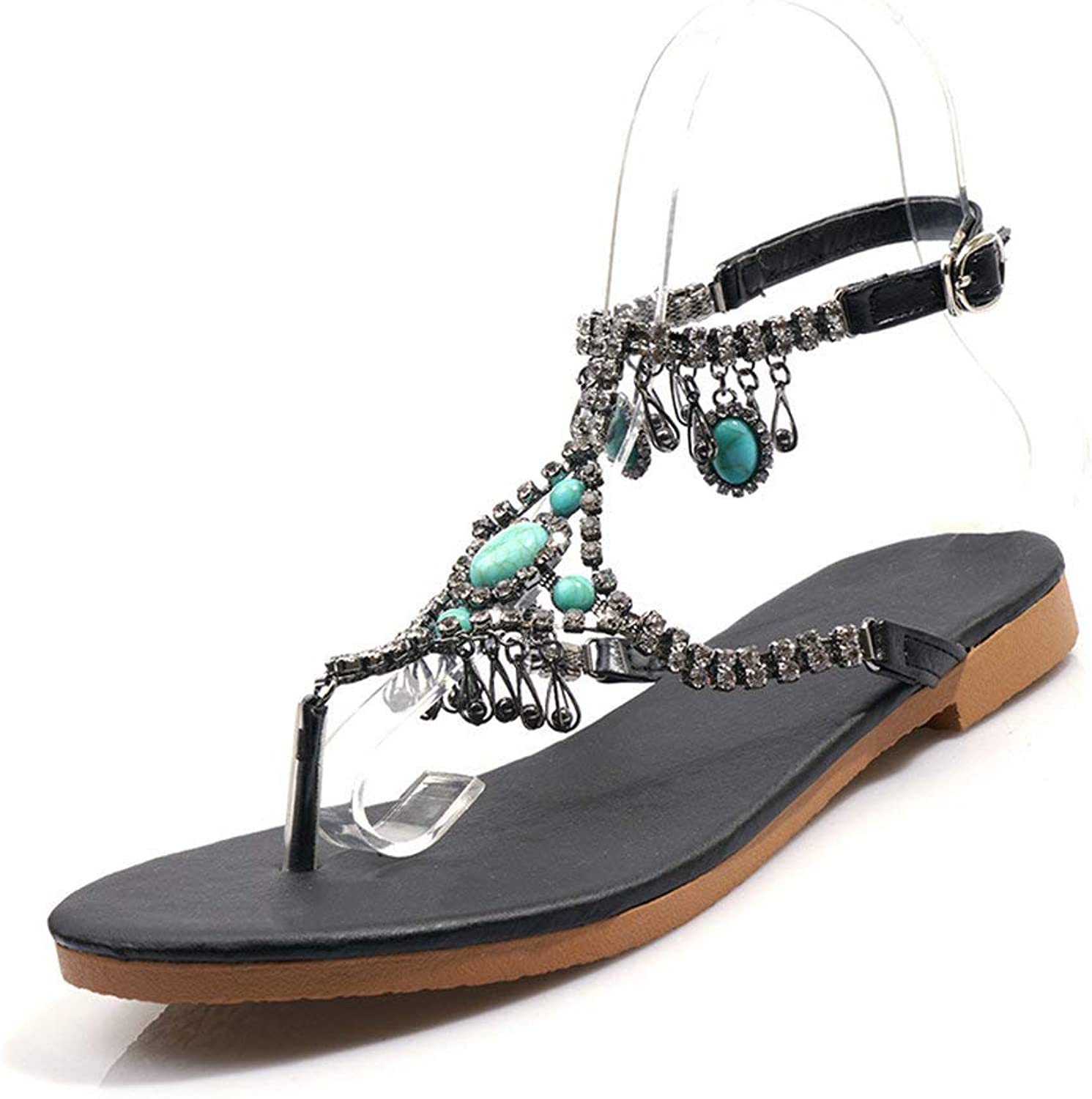 AnMengXinLing Women Flats Sandals Ankle Strap Crystal Flip Flops Thong Summer Gladiator Sandals Casual Buckle Fringe Beach Party shoes Black Silver