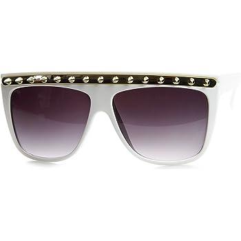 Retro Fashion Metal Arm Flat Top Horn Rimmed Sunglasses Shiny-Black