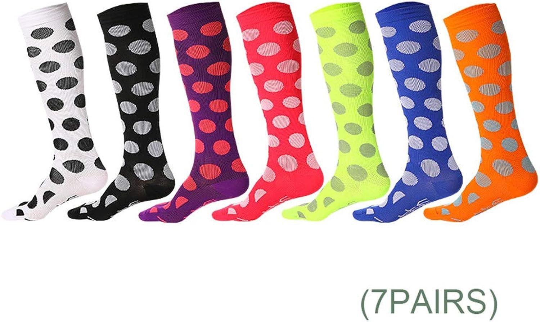 Varicose Veins Compression Socks,(7 Pairs) Women Men Best Athletic Sports Hiking Standing Maternity Pregnancy Nursing
