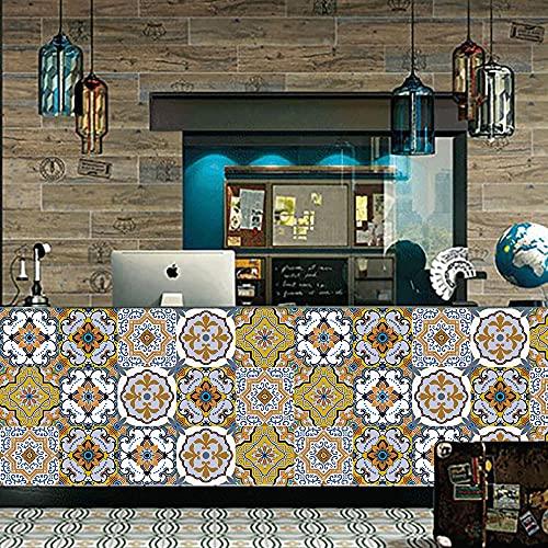 Pegatinas de pared de flores amarillas y blancas Azulejos de pared Pegatinas de azulejos, PVC ambiental Decoración autoadhesiva móvil Baño de cocina 15cm * 75cm 5pcs