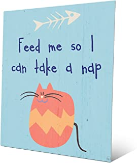 Feed Me So I Can Take a Nap - Blue: Cute Fat Striped Orange Tabby Cat with Fishbone Fish Skeleton on Baby Blue Quote Saying Wall Art Print on Metal