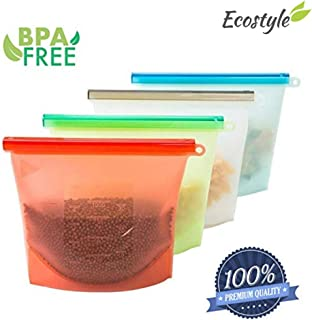 Ecostyle 4pcs de Bolsas de Silicon/Silicona/Silicone, almacenaje comida, reutilizable y sellable, para la calefacción, congelación, microondas, 100% a prueba de fugas, funciona para cocinar en horno, fácil de lavar