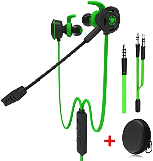 Plextone Wired Gaming Earphone with Detachable Long Microphone for PC, Mobile, PS4, Xbox, Tablet (Green)