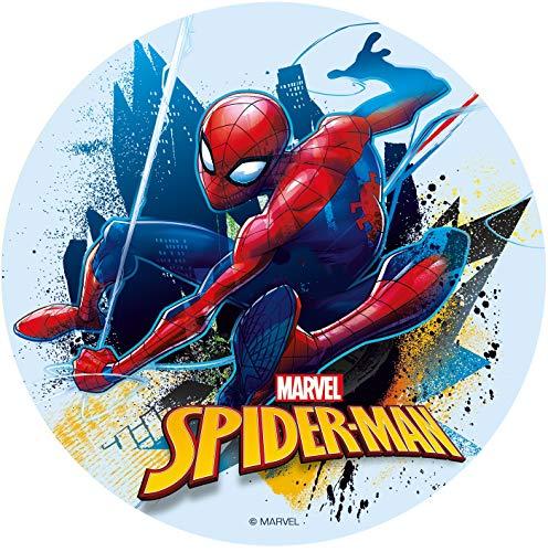Dekora - 231362 Spiderman Tortenaufleger aus zuckerfreiem Esspapier - 16 cm