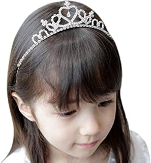 Vemonllas Wedding Party Children Flower Girl Crystal Rhinestones Crown Headband Tiara Silver