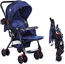 Mee Mee Baby Stroller Pram |Quick One Hand Folding | Comfortable Seating | Fully Rotating Wheels | Feeding Tray| for Newbo...