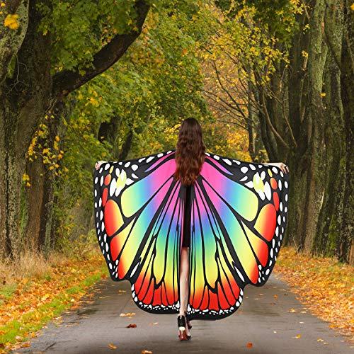 Schmetterling Kostüm Umhang Schmetterling Schmetterlingsflügel für Frauen Karneval Kostüm Mädchen Party Cosplay Einheitsgröße mehrfarbig