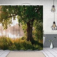 シャワーカーテン神秘的な風景の霧の風景とストリームビューの印刷物の木の葉 防水 目隠し 速乾 高級 ポリエステル生地 遮像 浴室 バスカーテン お風呂カーテン 間仕切りリング付のシャワーカーテン 180 x 180cm