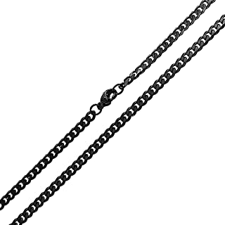 4MM Plain Strong Black Stainless Steel Miami Cuban Curb Link Chain Necklace for Men Teen Women 18 20 24 Inch