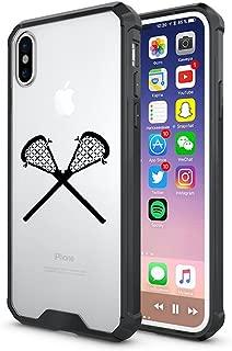 Clear Shockproof Bumper Case Hard Cover F0R Apple iPhone Lacrosse Sticks (Black, F0R Apple iPhone XR)