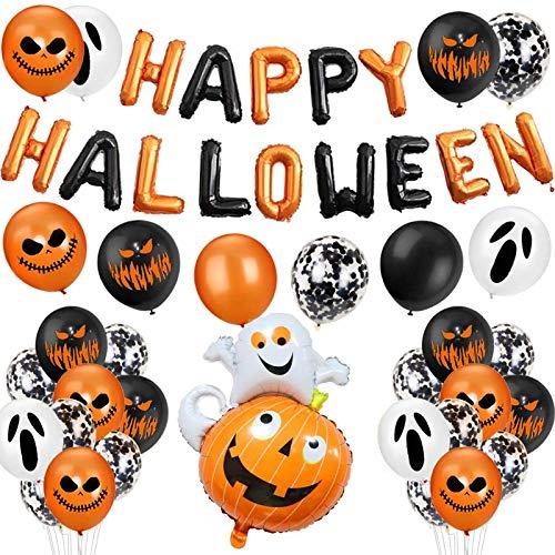Kit di Palloncini di Halloween,Decorazione Halloween Palloncini ,Foto Booth Props Halloween,Palloncino in Lattice,Palloncino Foil,Zucca Palloncini,Feste per Halloween Festival Fantasma (8)